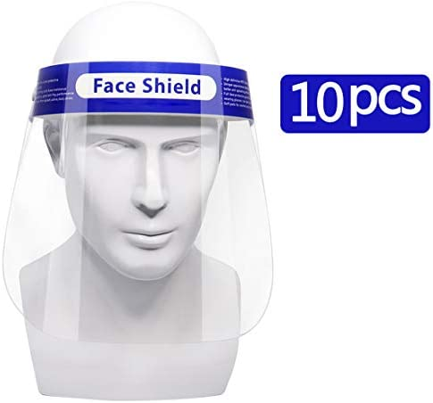 【US Stock】10 Pcs Safety Face Shield Reusable Full Face Transparent Breathable Visor Windproof Dustproof Hat Shield Protect Eyes And Face Simplee Kids Brand