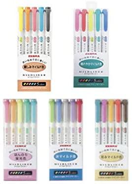Zebra Mildliner highlighter pen set, 25 Pastel Color set with Original Pen Case : Office Products