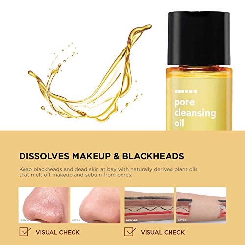 Hanskin PHA/BHA/AHA Pore Cleansing Oil, Sample Trial Size, Travel Size Mini Makeup Remover Set, Gentle Blackhead Cleanser for Sensitive, Combination, Oily and Dry Skin [30 ml/Pack of 3]: Beauty