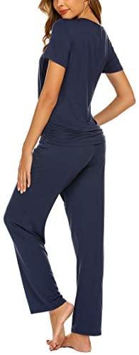 Ekouaer Women's Maternity Nursing Pajama Set Breastfeeding Sleepwear Set Double Layer Short Sleeve Top & Pants Pregnancy PJS at Women's Clothing store