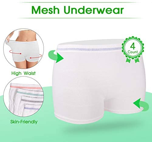 Mesh Underwear Postpartum 4 Count Disposable Postpartum Underwear Hospital Mesh Panties for Post C-Section, Maternity Briefs - Washable | Stretchy,High Waist Mesh Postpartum Underwear Women(L): Health & Personal Care