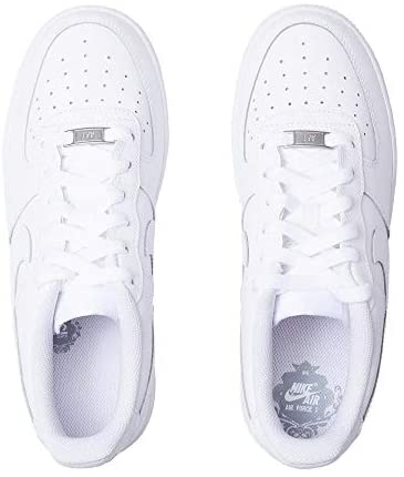 Nike Kids Air Force 1 (GS) White/White/White Basketball Shoe 4.5 Kids US | Sneakers