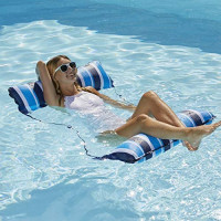 Aqua 4-in-1 Monterey Hammock XL (Longer/Wider) Inflatable Pool Chair, Adult Pool Float (Saddle, Lounge Chair, Hammock, Drifter), Water Hammock, Navy/White Stripe: Toys & Games