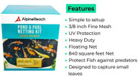 AlpineReach Koi Pond Netting Kit 28 x 30 Feet Gift Box - Woven Fine Mesh Heavy Duty Stretch Net Cover for Leaves - Protects Koi Fish from Blue Heron Birds Cats Predators UV Protection Stakes Included : Garden & Outdoor