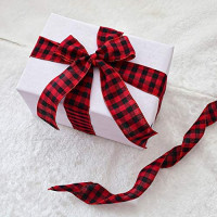 URATOT Red and Black Plaid Burlap Ribbon Christmas Wired Ribbon Wrapping Ribbon for Christmas Crafts Decoration, Floral Bows Craft, 236 by 1.97 Inch