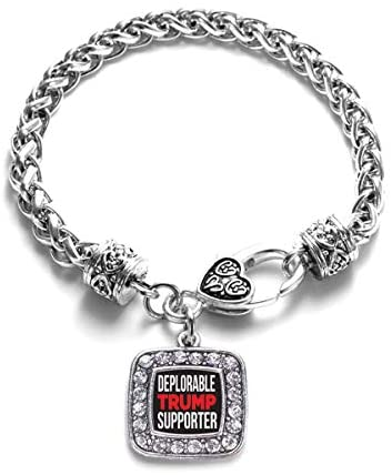 Inspired Silver - Deplorable Trump Supporter Braided Bracelet for Women - Silver Square Charm Bracelet with Cubic Zirconia Jewelry: Jewelry