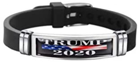 TENDYCOCO 2PC Presidential Campaign Bracelet Silicone Stainless Steel Bangle Simple Wristband for Men Women Trump 2020 Regular Strap Design A: Jewelry