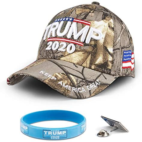 Trump 2020 Keep America Great Hat with US Flag, 3D Embroidered Adjustable Baseball Hat Bundle, Presidental Election Cap with Pins and Silicone Wristbands Bracelet Set for Trump Supporter at Men's Clothing store