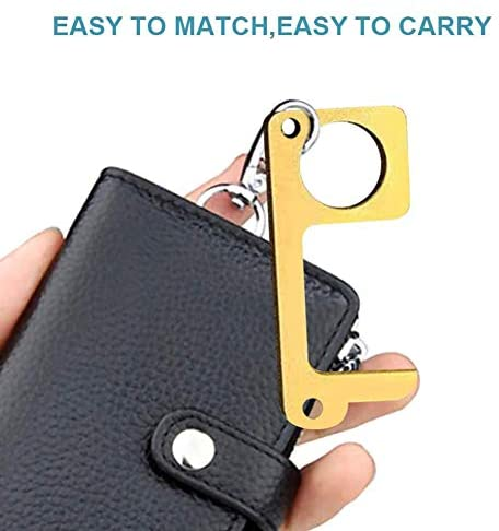 Clean Key No Touch Door Opener Tool Handheld Brass EDC Keychain Tool, Gutupet Non-Contact Key Door Opener & Closer Contactless Safety Door Opener Smart Key Tool, Keep Hands Clean (6)