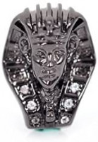 Egyptian Pharaoh Head Beads CZ Pave Sphinx Beaded Charm for Bracelet Jewelry Making Findings 10x14mm 10Pcs: Jewelry