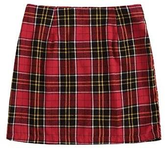 MakeMeChic Women's Plaid Skirt Zipper Back High Waist A-Line Mini Skirt at Women's Clothing store