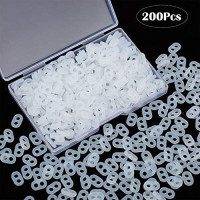 200 Pieces Silicone Cord Locks Adjustment Elastic Cord Buckle Anti-Slip Cord Buckles Drawstring Stopper Toggle for Adult Children Ear Rope Earloop Buckles Supplies (Clear)