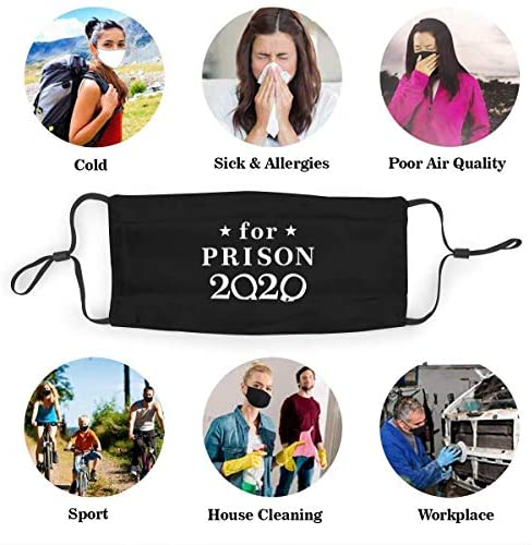 Trump for Prison 2020 Adjustable Earloop Face Anti Dust Face Mouth Mask with Filter and Nose Clip for Men & Women Black (0886359950100)