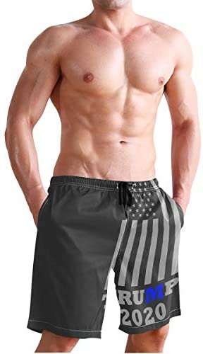 Art USA Flag Mens Swim Trunks Quick Dry Board Shorts with Pockets Summer Swimsuit Beach Short: Clothing