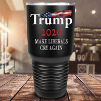 TRUMP 2020 Make Liberals Cry Again on Black 30 oz Stainless Steel Vacuum Insulated Tumbler with Lid - Trump Gifts: Tumblers & Water Glasses