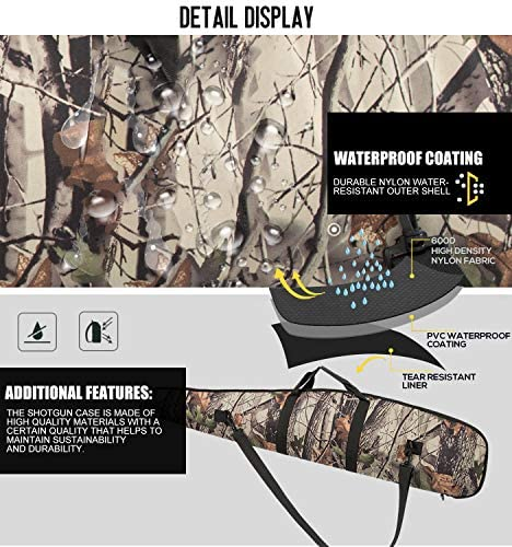 APESNOIC 44/48/52 Inch Rifle Case Extreme Shotgun Case for Scoped Rifles, Waterproof Rifle Bag with Zipper Pocket -Realtree-52 : Sports & Outdoors