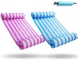 FindUWill 2-Pack Premium Swimming Pool Float Hammock, Multi-Purpose Inflatable Hammock (Saddle, Lounge Chair, Hammock, Drifter), Water Hammock Lounge (Pink and Lightblue): Toys & Games