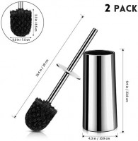 Homemaxs Toilet Brush and Holder【2020 Upgraded】, 304 Stainless Steel Toilet Brush with Long Handle(15.4x9.4x4.3IN), Hideaway Toilet Bowl Cleaner Brush for Bathroom(Polished Surface Holder): Home & Kitchen