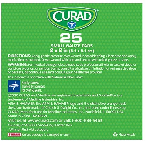 "Curad Sootheplus Gauze Pads with Arm & Hammer Baking Soda, 2"" X 2"", 25Count: Health & Personal Care"