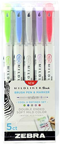 Zebra Pen Mildliner Double Ended Brush and Fine Tip Pen, Assorted Colors, 10-Count : Office Products