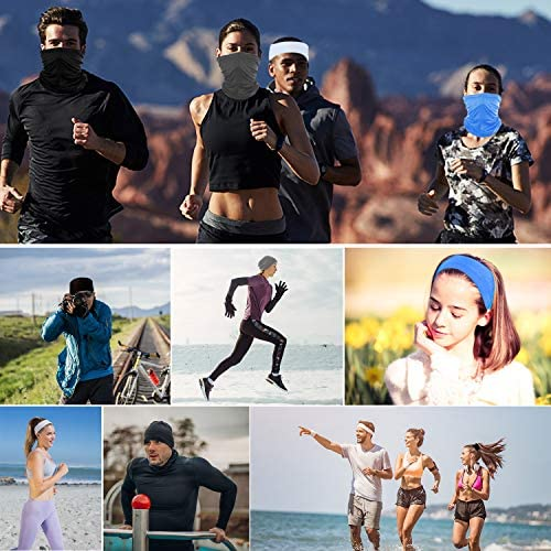 Anstronic [6-Pack] Neck Gaiter Scarf, Face Mask Sunscreen Breathable Bandana for Men Women Cycling Hiking Fishing (White) at Women's Clothing store