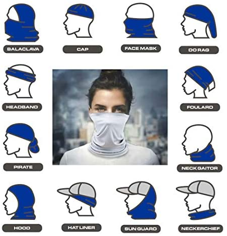 [6 Pack] Unisex Sun UV Protection Face Bandana, Reusable Cloth Half Mask Scarf for Cycling Motorcycle Hiking, Breathable Neck Gaiter Balaclava for Men Women(Black&Dark Gray&White) at Men's Clothing store
