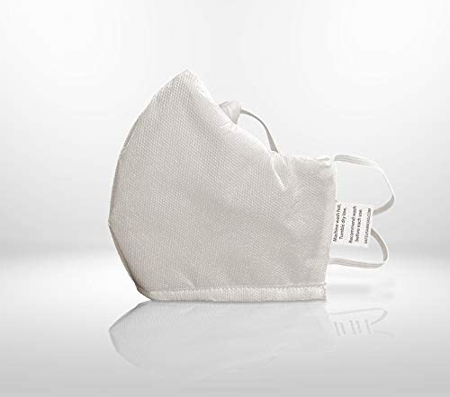 High Quality Washable & Reusable 3-Layer Face Masks with Behind-The-Head Elastic Straps, White, Maximum Comfort, Lightweight, and Breathable, Made in North America (5 pk): Health & Personal Care