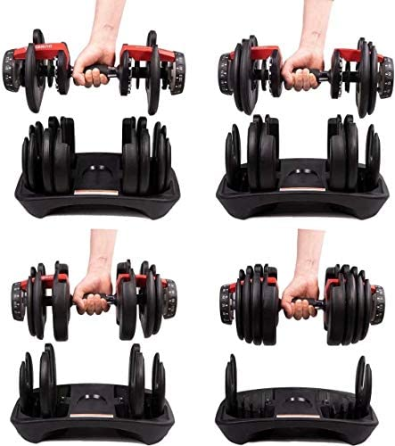 Rimoo Fitness Dumbbells, 5-52.5Ibs Adjustable Dumbbell for Exercise, Home Gym Equipment for Man and Women (Single) Red : Sports & Outdoors