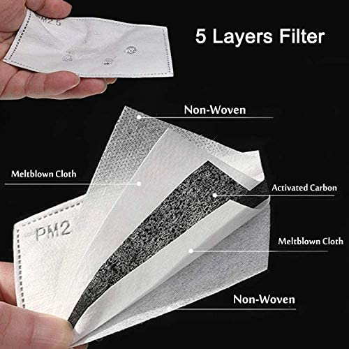 20Pcs Activated Carbon Filters Meltblown Non-Woven Cloth 5 Layers Filters, 2 Pack Free (Black) for Women Mens Cotton Adjustable Reusable Breathing Protection Anti Dust