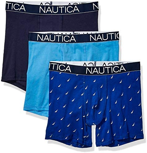 Nautica Men's 3-Pack Classic Underwear Cotton Stretch Boxer Brief at Men's Clothing store