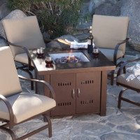 AZ Patio Heaters GS-F-PC Propane Fire Pit, 40,000 BTU, Square, Antique Bronze Finish: Garden & Outdoor
