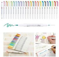 Cobaka 5pcs/set japan zebra mildliner color WFT8 brush pen Creative Limit double-headed marker pen School supplies kawaii (WFT8 5C): Kitchen & Dining