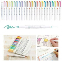 Cobaka 5pcs/set japan zebra mildliner color WFT8 brush pen Creative Limit double-headed marker pen School supplies kawaii (WFT8 NC): Kitchen & Dining