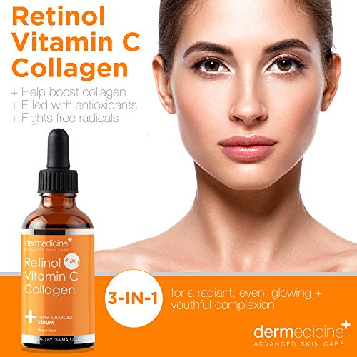 Retinol Vitamin C Collagen | Super Charged Anti-Aging Serum for Face | Pharmaceutical Grade Quality | Helps Smooth & Plump Fine Lines & Wrinkles & Brightens for Younger Skin | 1 fl oz / 30 ml: Beauty