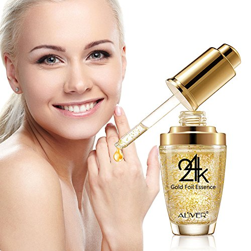 Topical Facial Serum with Hyaluronic Acid,24K Gold Collagen & Vitmins C for Face,100% Pure,Anti-Aging Skin Repair,Moisture,Firmm & Whitening Skin for All Skin Types,1 Fl Oz: Beauty