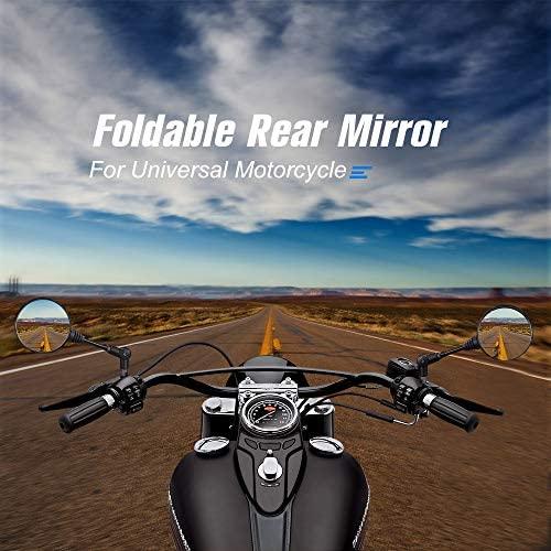 "kemimoto Universal Motorcycle Mirrors Black 10mm Thread 7/8"" Handle Bar Round Folding Rear Side View Mirrors compatible with Kawasaki, Suzuki, Honda, Victory, Cruiser, Ducati, Aprilia All Motorbikes: Automotive"