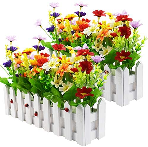XONOR Artificial Flower Plants - Mixed Color Daisies in Picket Fence Pot for Indoor Office Wedding Home Decor, 2 Sets: Kitchen & Dining