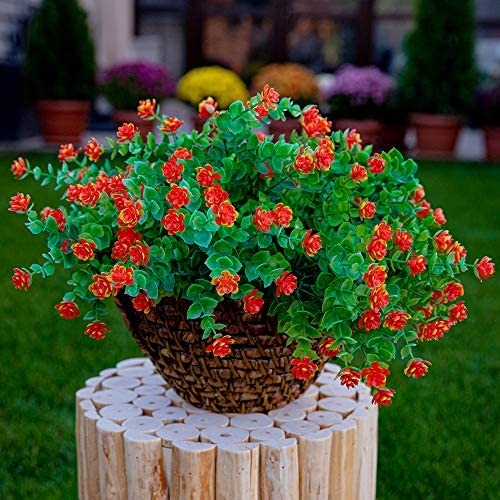 AXYLEX Artificial Flowers Outdoor Plastic Plants - 6PCS Outside Face Mums Fake Greenery UV Resistant No Fade Faux Daffodils Bundles Shrubs Home Garden Porch Patio Decoration Office Indoor (RedOrange): Kitchen & Dining