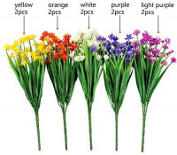 LUCKY SNAIL 10 PCS Artificial Flowers Outdoor, UV Resistant Fake Flowers No Fade Plastic Flowers Faux Greenery Shrubs Plants Indoor Outside Hanging Planter Home Garden Christmas Decor(5 Colors): Home & Kitchen