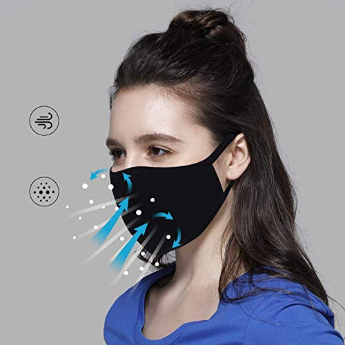 5PCS Fashion Protective, Unisex Black Dust Cotton Facial covering: Beauty