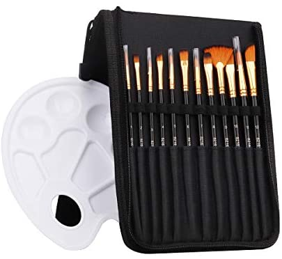 Art Supply Paint Brushes Set 12pcs Brushes 1Pallette in Carrying Case, Perfect for Acrylic, Watercolor, Oil and Gouache Artist