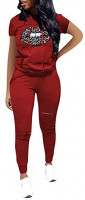 VKVKA Women's Casual 2 Piece Outfits Ripped Hole Pullover Hoodie Sweatsuit Sport Set at Women's Clothing store