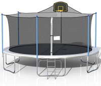 16 FT Basketball Trampoline Combo, Home Trampoline, Outdoor Bouncing Bed for Children, Fitness Trampoline, Outdoor Large-scale Trampoline with Net for Kids and Adults, Trampoline for Family School (Blue) : Sports & Outdoors