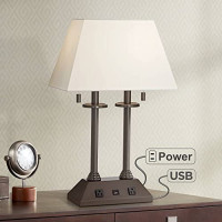 Charlton Traditional Desk Table Lamp with Hotel Style USB and AC Power Outlet in Base Bronze Rectangular Fabric Shade for Bedroom Office - Regency Hill