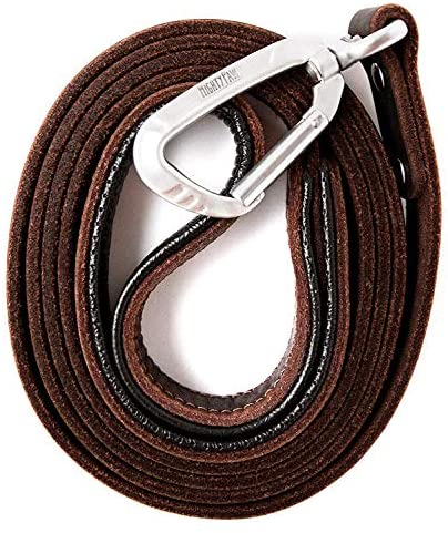 Mighty Paw Leather Dog Leash | 6 Ft Leash. Super Soft Padded Handle Leather Lead with Extra D-Ring for Waste Bags. Strong Climbers Clip, Perfect Medium and Large Dog Leash. (Brown) : Pet Supplies