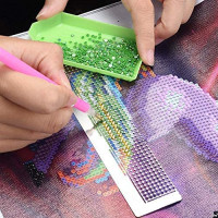 Diamond Painting Ruler - DIY Rhinestone Embroidery Painting Ruler Dot Drill Accessory Tool: Kitchen & Dining