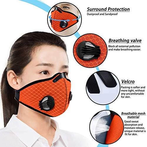 Jinlan 1with Filter,Sports Face, 10Filters Included,Men's and Women's Universal,Suitable for Woodworking, Outdoor Activities(Orange): Clothing