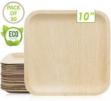 Maso Palm Disposable Palm Leaf Plates 10 Inch 30-Plates - Better than Bamboo or Wood Palm Plates Set with Wooden Forks & Knives - Biodegradable & Eco-Friendly Rustic Party Decorations Tableware: Kitchen & Dining