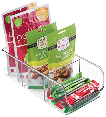 mDesign Plastic Food Packet Kitchen Storage Organizer Bin Caddy - Holds Spice Pouches, Dressing Mixes, Hot Chocolate, Tea, Sugar Packets in Pantry, Cabinets or Countertop - 2 Pack - Clear: Kitchen & Dining