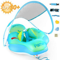 Parner Pool Float Babies Swimming Floats, SPF 50+ Sun Canopy Inflatable Baby Ring Bath Float, Water Neck Float with Safety Bottom Support Swim Buoy for Toddler Baby Boy Girl Age of 6-36 Months, Large: Sports & Outdoors
